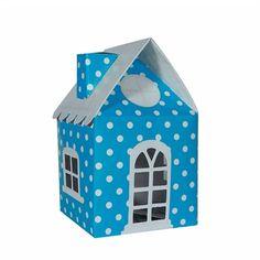 Caixa Casa Surpresa Poá Azul Claro e Branco 08 unidades Kaixote