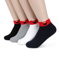 USPS Free Shipping (4 Pairs) Sesame Street Sneakers Socks Women Kids Fashion PF4 #KIKI #AnkleSocks