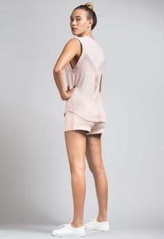 Lightweight & Breathable Blush Pink Modal Sports Mesh Y-Back Top