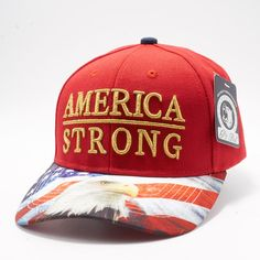 7707f315403 Shop Pit Bull Exclusive Design Snapback US Flag Printed Custom Brim Red  Crown with America Stong Metalic Gold Embroidery Hats Caps Wholesale