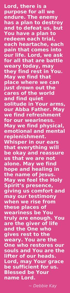 Debbie Kay, I didn't pin this on my Trinity board because I felt it was needed on this one. To all that visit this, I pinned for you. God bless you.