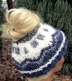 PDF Pattern ONLY  Messy buns are the rage right now for men and woman. You can create your own colorful messy bun hat with this easy Fair Isle pattern!  ~Design~  • stylish, timeless, unisex design • 2 sizes are included in instructions (ladies, mens) • chunky knit works up in an evening (8mm (US 11) needles) • knit in the round • designed for an advanced beginner (knit, purl, knit two stitches together) • work on reading an easy Fair Isle chart using only knit stitches • any chunky yarn…