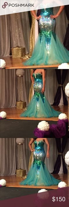 Sequin Pageant/Prom Gown Beautiful turquoise mermaid style gown only worn it once Dresses Prom