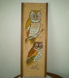 Vintage glass and marble gravel art plaque- brown owls mosaic wall art. Owl Mosaic, Mosaic Wall Art, Marble Mosaic, Mid Century Wall Art, Retro Art, Pebble Art, Modern Art, 1960s, Art Pieces