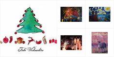Weihnachtliche Aquarellmotive mit Weihnachtsgrüßen und Neujahrsglückwünschen. Weihnachtskarten, Christbaumschmuck, Weihnachtsdeko, Geschenkboxen uvm