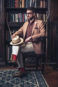 Hankerchief, fedora, bright red socks, Scarzza monkstraps  Model: Julien