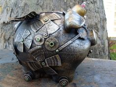 Steampunk Musical Flying Piggy Bank by IntrinsicFiction on Etsy
