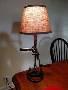 Vintage drill repurposed into lamp