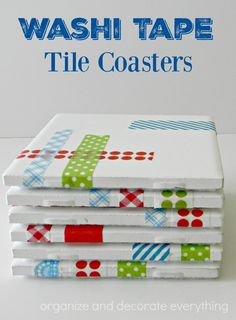 Make Washi Tape tile coasters to give as gifts or keep for yourself. They only cost pennies to make. Washi Tape Dorm, Washi Tape Cards, Masking Tape, Washi Tape Journal, Washi Tape Planner, Girls Night Crafts, Craft Night, How To Make Coasters, Diy Coasters