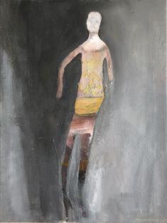 Original People Painting by Siri Skogstad Berntsen Women Figure, Contemporary Artwork, Siri, Gray Background, Fashion Art, Black And Grey, Original Paintings, Art Prints, Canvas