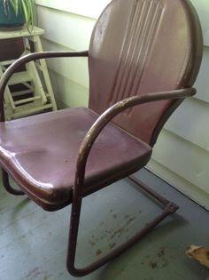 Vintage metal garden tulip chairs