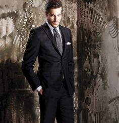 windowpane suit pattern, grey tie