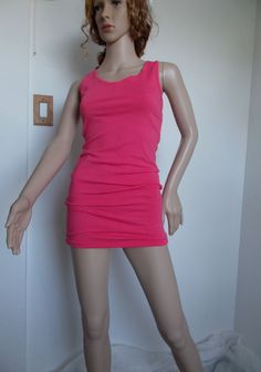 Coral Solid Tank Racer Back Dress Size Small #summer #fashion #StretchBodycon #Casual