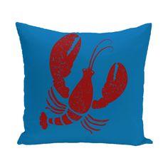Hancock Lobster Coastal Outdoor Throw Pillow