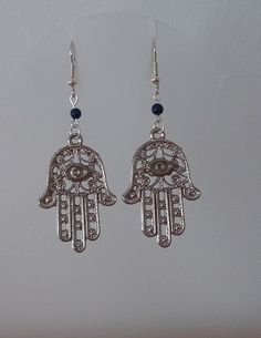 Hamsa earrings, Egyptian jewelry, Protection Hand of fatima, Lapis lazuli, Antique silver tone khamsa, Gift for her, Belly dancing jewelry