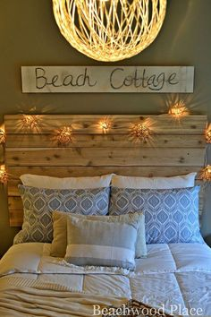 Love the headboard and lights! -DIY string light pendant - step by step tutorial!