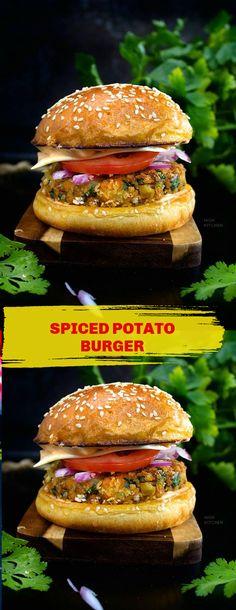 Mashed Potato Patties, Burger Kitchen, Easy Hollandaise Sauce, Tasty Vegetarian Recipes, Kitchen Recipes, Salmon Burgers, Good Food, Spices, Potatoes
