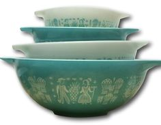 Mint Vintage Pyrex Cinderella Butterprint Full Set of Four 4 Next Bowls Turquoise White Amish Farmer Collectible Farmhouse Chic Free Shippin