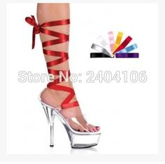 58.55$  Buy here - http://aliczk.worldwells.pw/go.php?t=32731218246 - Nightclub Women Transparent Clear Boots Multi-color Ribbons Peep Toe 15CM Perspex High Heel 5CM Platform Drop Shipping