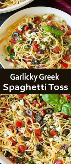 #Garlicky Greek #Spaghetti Toss #recipe Greek Spaghetti, Vegetarian Spaghetti, Greek Pasta, Spaghetti Recipes, Pasta Recipes, Garlic Spaghetti, Greek Recipes, Veggie Recipes, Vegetarian Recipes
