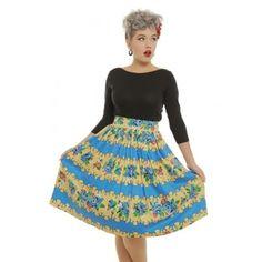 'Vera' Blue Rose Stripe Print Swing Skirt