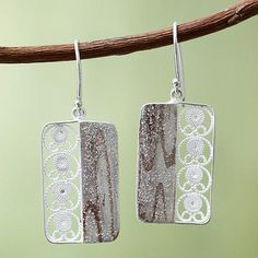 Handmade Andean Sterling Silver Filigree Hook Earrings - Bold Contrasts | NOVICA
