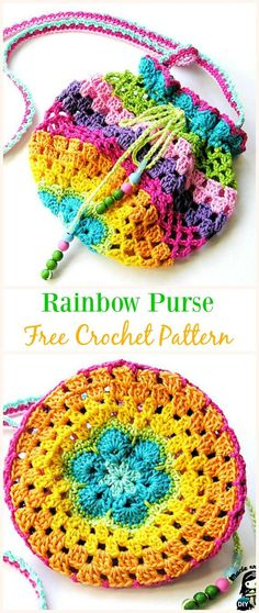 Rainbow Purse Free Crochet Pattern -#Crochet Drawstring #Bags Free Patterns