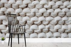 White Chunky Knit Wall Mural
