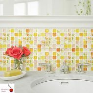 Beaustile Yellow Mosaic Wall Stickers 4 Sheets Bathroom Home Decor Backsplash Wallpaper Tile Art Fire Retardant Kitchen -- More info could be found at the image url. (This is an affiliate link and I receive a commission for the sales) Wallpaper Backsplash Kitchen, Kitchen Tiles, Wall Decor Stickers, Yellow Walls, Tile Art, Wall Treatments, 3d Wall, Interior Decorating, Interior Design