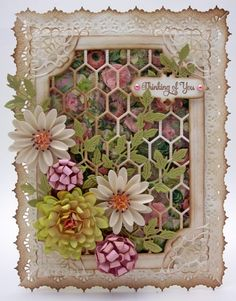 Cheery Lynn Flower Card by pinkcloud - Cards and Paper Crafts at Splitcoaststampers. Copied this just for the complexity - I could never make one so complex Pretty Cards, Cute Cards, Scrapbooking, Scrapbook Cards, Shabby Chic Cards, Anna Griffin Cards, Window Cards, Heartfelt Creations, Paper Cards