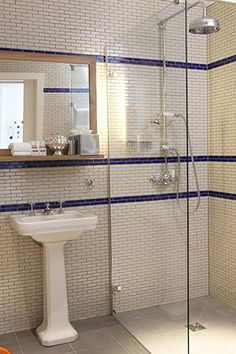 Subway Tile Glass Shower Stall Pedestal Sink White