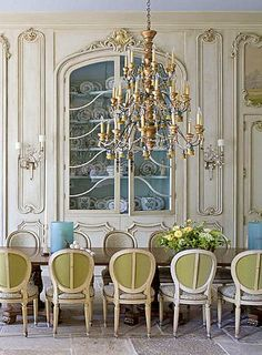 Absolutely Gorgeous Formal French Dining Room with built in China Cabinet, incredible carved panels and magnificent chandelier. love, love, LOVE!