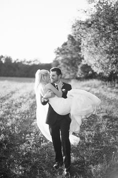 My dress might be too poofy for him to carry me, but I love black & white pictures!