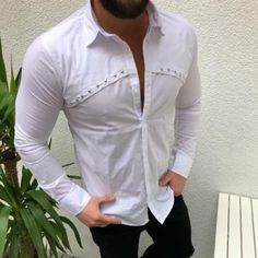 BrosWear Casual Long Sleeve Solid Color Men's Shirt Business Shirts, Shirt Style, Long Sleeve, Casual, Sleeves, Men, Color, Fashion, Moda