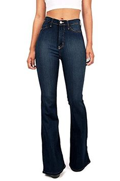 High waist fitted denim pants with flared bottoms. Faux pockets on the front with button and zip fly. Looks great with a cropped tee or tank. For a dressier look tuck in Dark Denim Jeans, Ripped Skinny Jeans, Casual Jeans, Denim Pants, Casual Outfits, Fashion Outfits, Blue Denim, Cowgirl Outfits, Women's Fashion