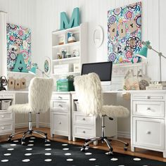 Chic Home Office Decor Office space: 15 chic home Study Rooms, Study Space, Kids Study, Study Areas, Desk Space, Teen Furniture, Furniture Decor, White Furniture, Teen Desk