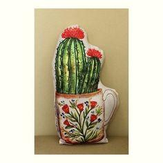 Almofada Cactus Xícara Floral com Enchimento