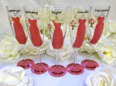 5 Coral Bridesmaid Dress Flutes by thepaintedflower on Etsy, $95.00