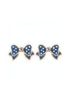 66873e29b9e Polka Dot Bow Earrings in Navy on Emma Stine Limited