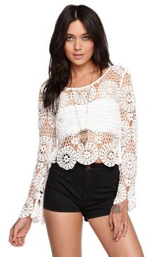 Long Sleeve Crochet Top by Kendall & Kylie