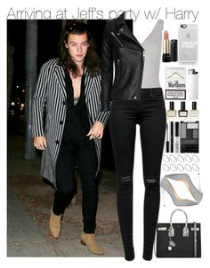 """Arriving at Jeff's party w/ Harry"" by your-fashion-lover ❤ liked on Polyvore featuring Atea Oceanie, J Brand, Yves Saint Laurent, Balmain, Jimmy Choo, ASOS, Wet n Wild, NARS Cosmetics, shu uemura and Casetify"