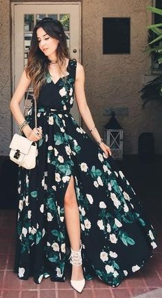 #summer #trends #outfits |  Black Floral Maxi Dress
