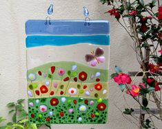 Fused Glass Sun Catcher, Glass Flowers and Butterfly Wall Decor, Poppy Field Glass Art, Glass Window Panel, Glass Butterfly, Glass Poppies