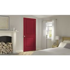 Jeld-Wen Cambridge Barn Red Prehung Solid Core 2-Panel Square Interior Door (Common: 24-In X 80-In; Actual: 25.562-In X