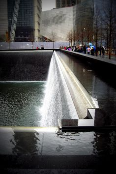 #911Memorial Waterfall.  No words can express the atmosphere here.  Nobody talked above  whisper.  Nobody.