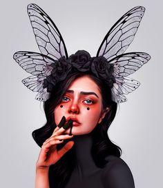 "⠀ ""How do you call a dragonfly in your language? We call them ""Libellen"" or singular ""Libelle""😃⠀ and btw. 🎉Happy new year! Digital Art Girl, Digital Portrait, Portrait Art, Grafik Design, Surreal Art, Face Art, Aesthetic Art, Cartoon Art, Art Inspo"