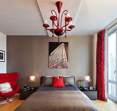Awesome deco chambre beige et rouge contemporary - house design Black And Grey Bedroom, Bedroom Red, Master Bedroom, Bedroom Decor, Wallpaper Design For Bedroom, Interior Wallpaper, Contemporary Wall Lights, Modern Wall, House Design