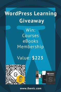 Enter to have a chance in winning 2 courses, 4 eBooks and a membership which can take your WordPress development skill up for a level or few. Learn Wordpress, Dress For Success, Giveaway, How To Become, Ebooks, Just For You, Learning, Study, Teaching