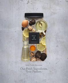 I love the use of natural colors and objects to represent the contents of the bottle. It sends a good message about the product.