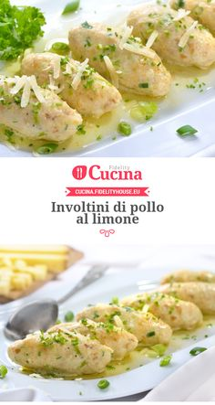 Lemon chicken rolls-Involtini di pollo al limone Lemon chicken rolls - Turkey Recipes, Meat Recipes, Cooking Recipes, Healthy Recipes, Pollo Chicken, Lemon Chicken, Salty Foods, Chicken Wing Recipes, I Foods